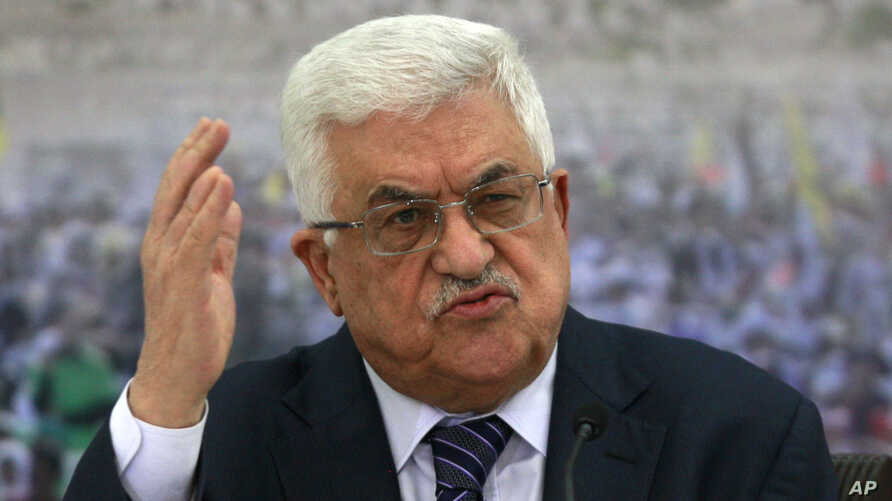 Palestinian President Mahmoud Abbas speaks during a meeting of the Palestinian leadership at his compound in the West Bank city of Ramallah, Friday, Nov. 16, 2012.