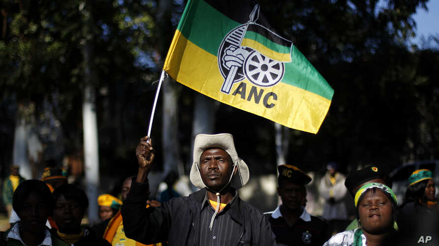 An African National Congress (ANC) supporter holds the party's flag during a march to the Goodman Gallery, where a portrait exposing South African President Jacob Zuma's genitals were first displayed, Johannesburg May 29, 2012.