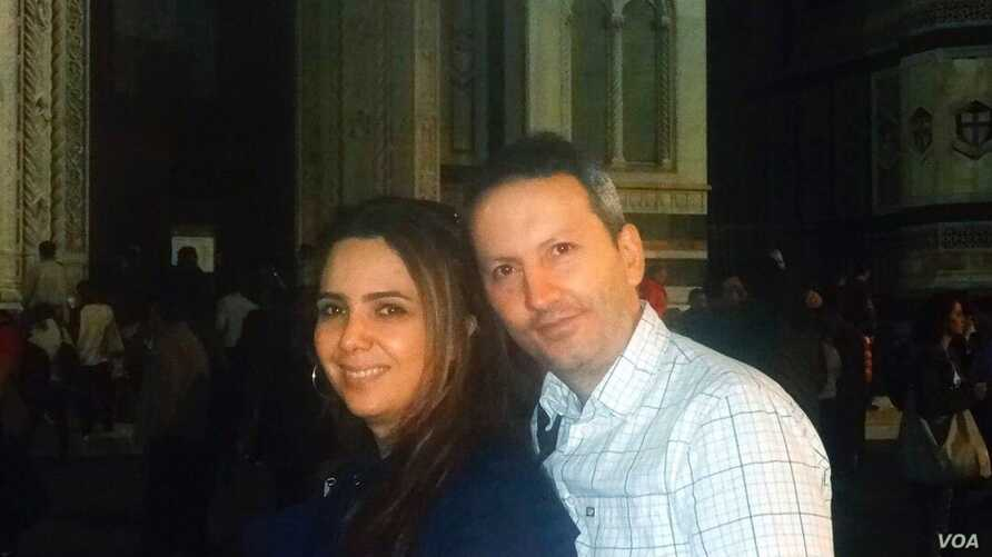 Iranian doctor Ahmad Reza Jalali and wife Vida Mehran Nia in Florence, Italy, Oct. 28, 2014. Jalali, detained in Iran since April 2016 and sentenced to death for collaborating with a hostile power, was granted Swedish citizenship in February 2018.