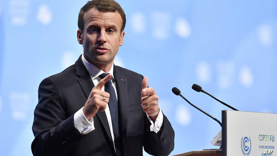 French President Emmanuel Macron delivers a speech during the 23rd Conference of the Parties (COP) climate talks in Bonn, Germany, Nov. 15, 2017.