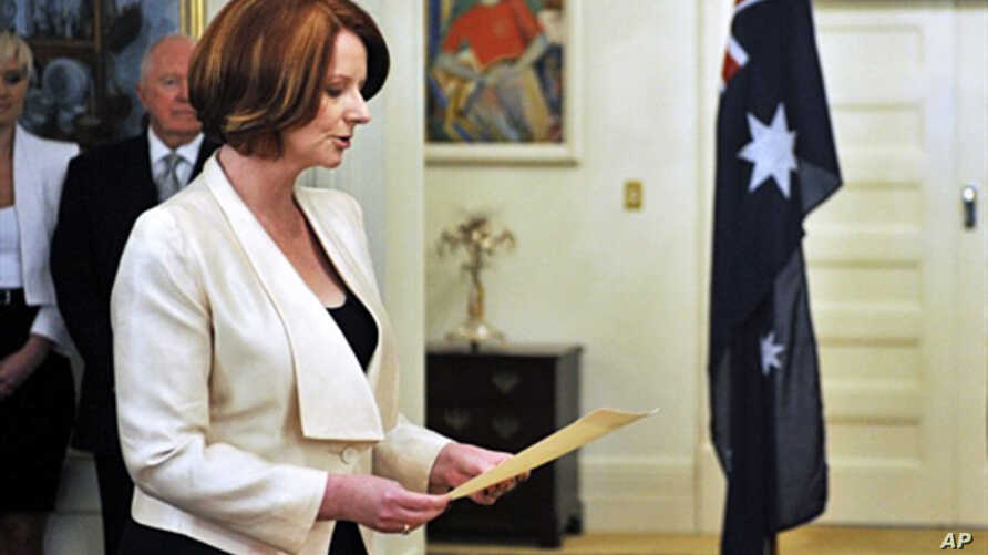 Australia's Prime Minister Julia Gillard during the swearing in ceremony at Government House in Canberra, 14 Sept. 2010