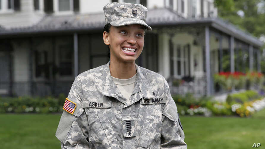 FILE - Cadet Simone Askew, of Fairfax, Virginia, answers questions during a news conference, in West Point, New York, Aug. 14, 2017. Askew, an African American, is among 32 Americans awarded Rhodes scholarships to study at Oxford University in Englan