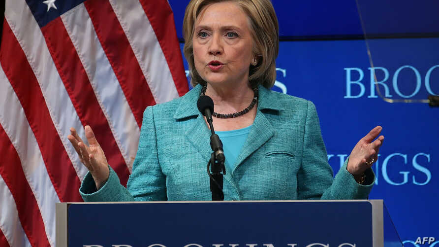 Former Secretary of State and Democratic presidential candidate Hillary Clinton speaks about the Iran nuclear agreement at the Brookings Institute in Washington, D.C., Sept. 9, 2015.
