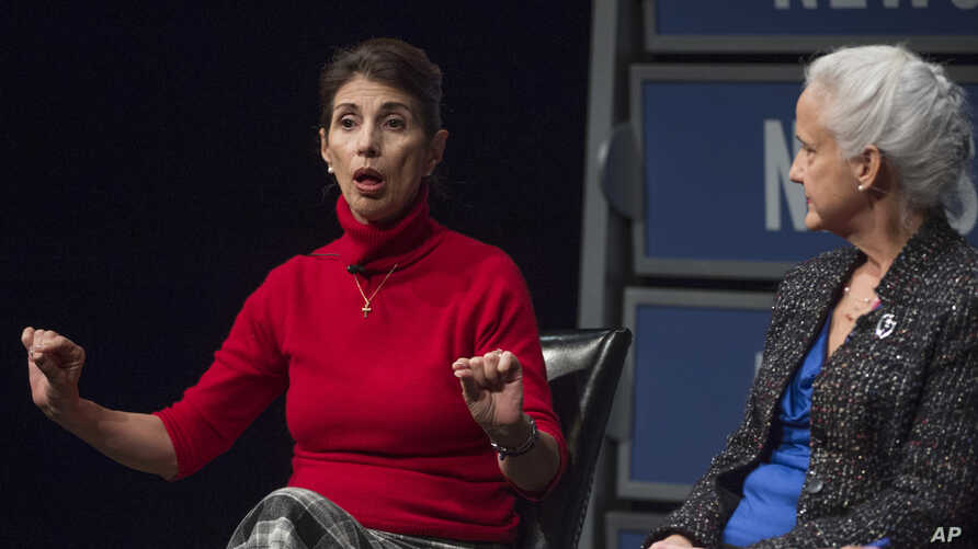 FILE - Diane Foley takes part in a program on threats to journalism and press freedom at the Newseum in Washington, Feb. 4, 2015.