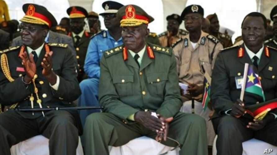 Unidentified high ranking commanders of the Sudan People's Liberation Army attend the inauguration ceremony of President Salva Kiir in Juba, southern Sudan on Friday, May 21, 2010.