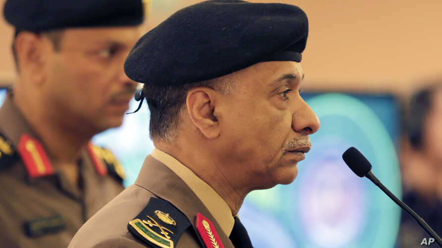 FILE - Saudi Interior Ministry spokesman Maj. Gen. Mansour al-Turki, shown listening to reporters' questions last week in Riyadh, says there have been five Islamic State-related attacks across the kingdom in recent months that have killed 15 civilian