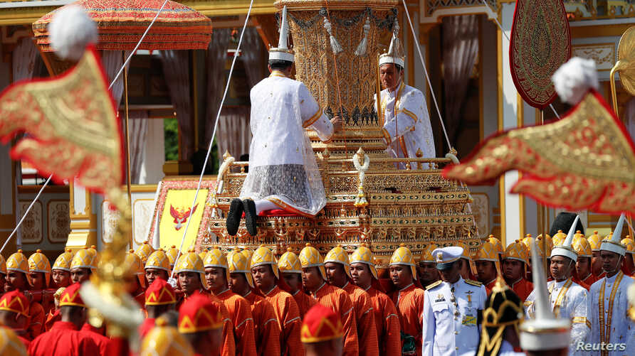 The Royal Urn of Thailand's late King Bhumibol Adulyadej is carried during the Royal Cremation ceremony at the Grand Palace in Bangkok, Oct. 26, 2017.