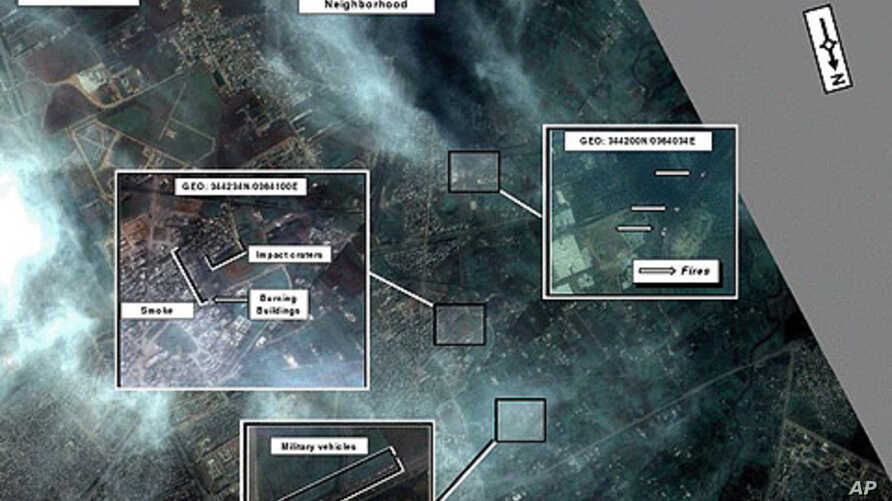 A declassified satellite image of the Syrian regime's artillery attack on the residential neighborhood of Bab Amr in Homs, Syria, February 6, 2012