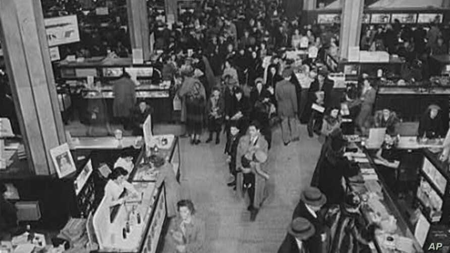 A crowded Macy's department store in New York City the wee