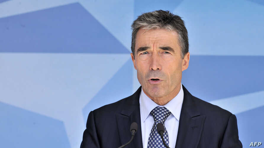 NATO chief Anders Fogh Rasmussen speaks to the press on June 26, 2012 at the NATO Headquarters in Brussels.