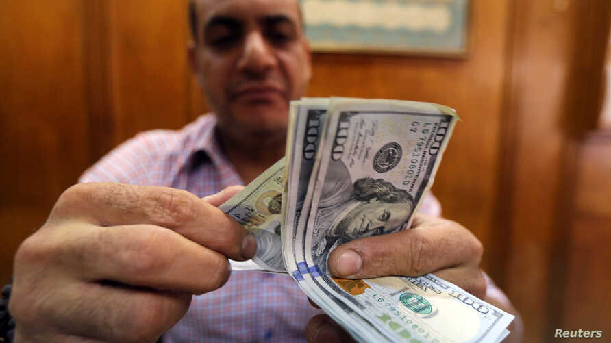 An employee counts money in a foreign exchange office in central Cairo, Egypt, November 3, 2016.  The wide gap between Egypt's official and unofficial dollar rates has led people to insist on receiving their money in foreign currency from the bank an
