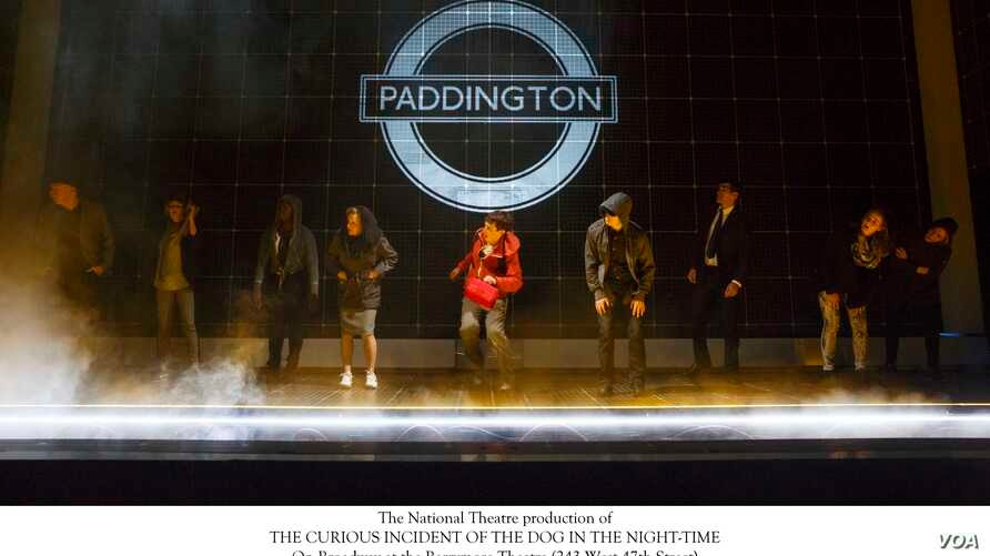 """In this scene from the Broadway production of """"The Curious Incident of the Dog in the Night-Time"""", the set has turned into the Paddington tube stop in London, Oct. 9, 2014. (Joan Marcus)"""