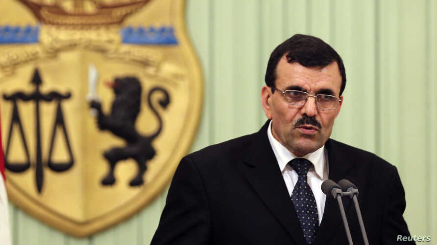 Tunisia's Prime Minister-designate Ali Larayedh speaks during a news conference after his meeting with Tunisia's President Moncef Marzouki (not seen) in Tunis, March 7, 2013.