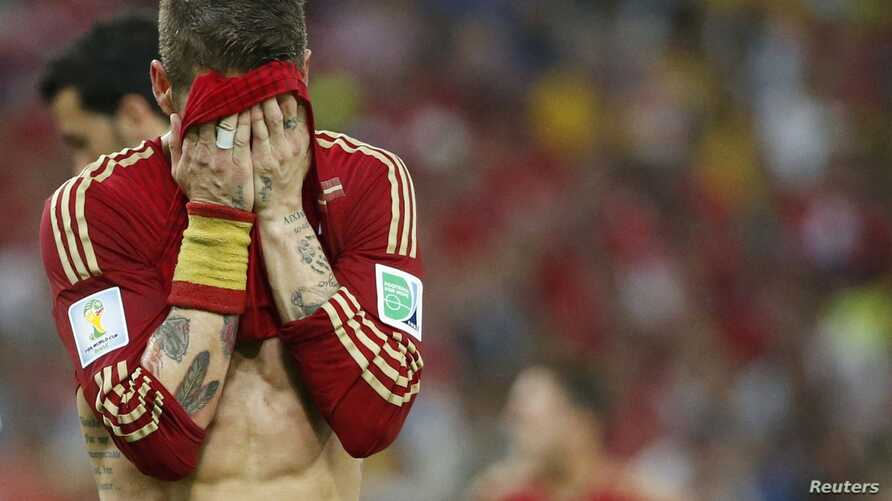 Spain's Diego Costa is seen during their 2014 World Cup Group B soccer match against Chile at the Maracana stadium in Rio de Janeiro June 18, 2014.      REUTERS/Jorge Silva (BRAZIL  - Tags: SOCCER SPORT WORLD CUP)      TOPCUP - RTR3UJ4E