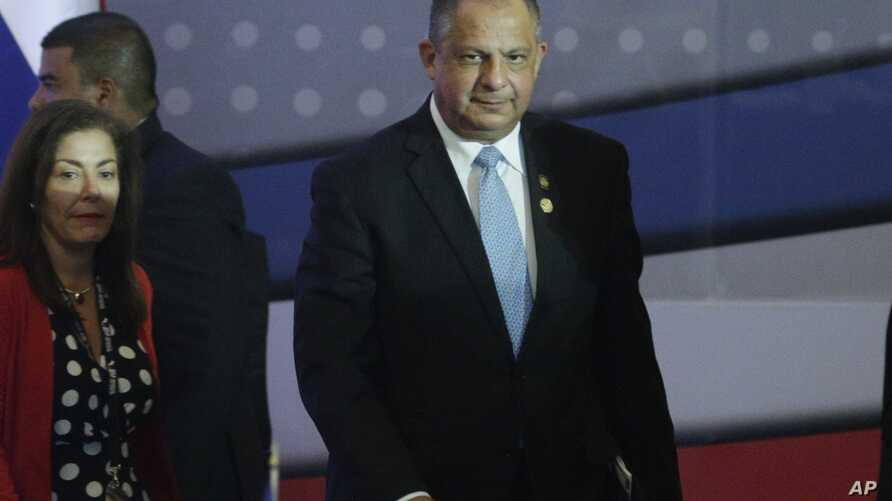 Costa Rica's President Luis Guillermo Solis attends a session of the Central America Integration System summit in Veracruz, Panama, Dec. 14, 2017.