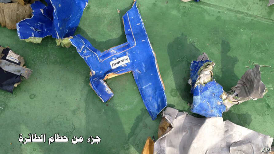 This picture posted Saturday, May 21, 2016, on the official Facebook page of the Egyptian Armed Forces spokesman shows part of the wreckage from EgyptAir flight 804.