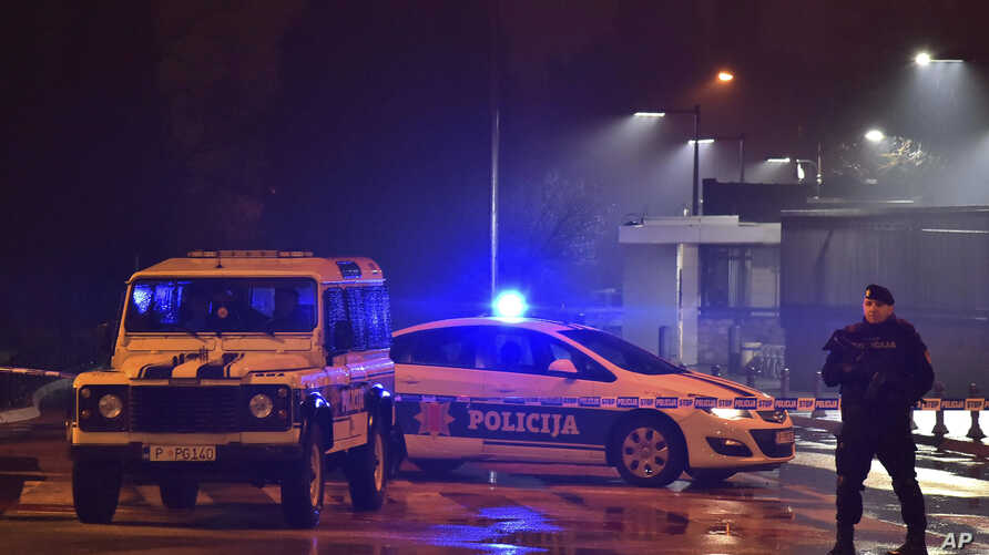 Police block off the area around the U.S. Embassy in Montenegro's capital Podgorica, Feb. 22, 2018. Local media say that an unknown assailant hurled a hand grenade toward the embassy around midnight local time (1100 GMT) and then killed himself with