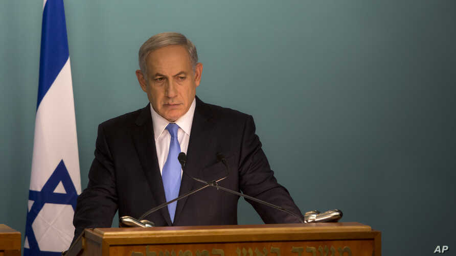 Israeli Prime Minister Benjamin Netanyahu gives a press conference at his office in Jerusalem, Oct. 20, 2015.
