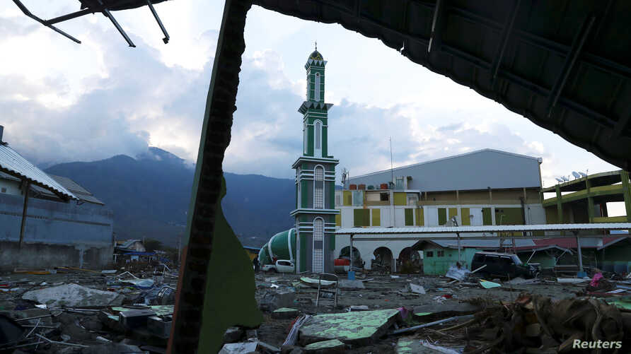 Baiturrahman mosque which was hit by an earthquake and tsunami is pictured in Palu, Central Sulawesi, Indonesia, Oct. 2, 2018.