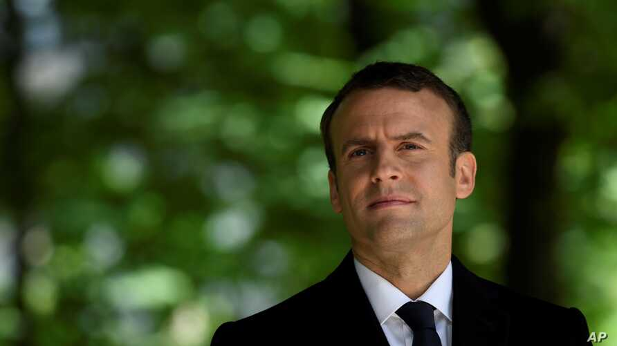 President-elect Emmanuel Macron, attends a ceremony to mark the anniversary of the abolition of slavery  May 10, 2017 in Paris.