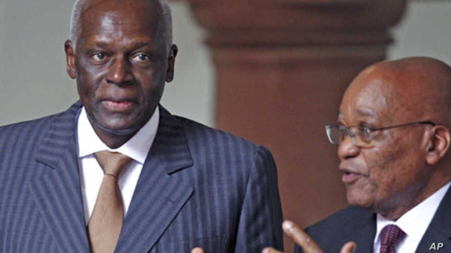 Parties still in power that received backing from the Soviet Union include the party of Angola's President Jose Eduardo dos Santos (L), the People's Movement for the Liberation of Angola, and of South Africa's President Jacob Zuma (R), the African Na