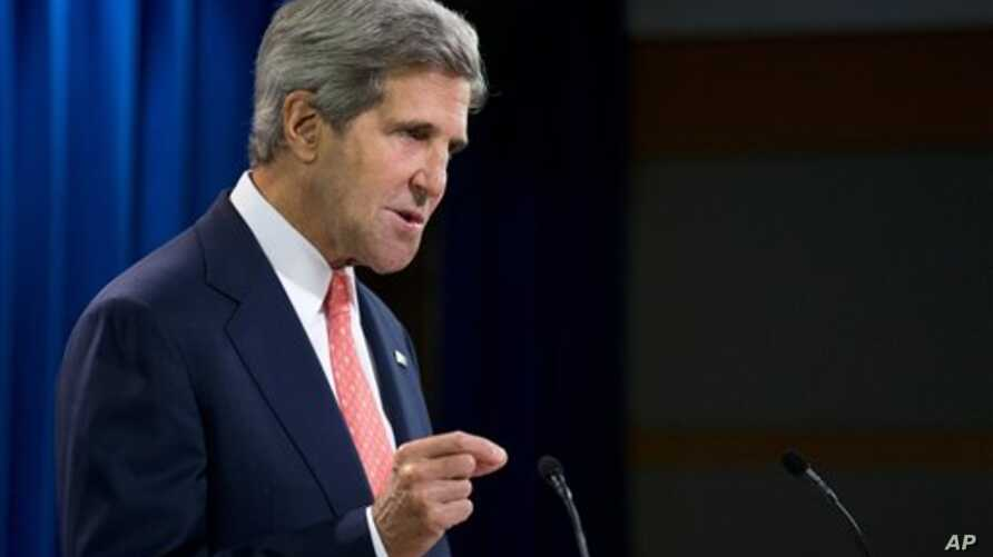 Secretary of State John Kerry speaks about the situation in Syria, at the State Department in Washington, Aug. 26, 2013.