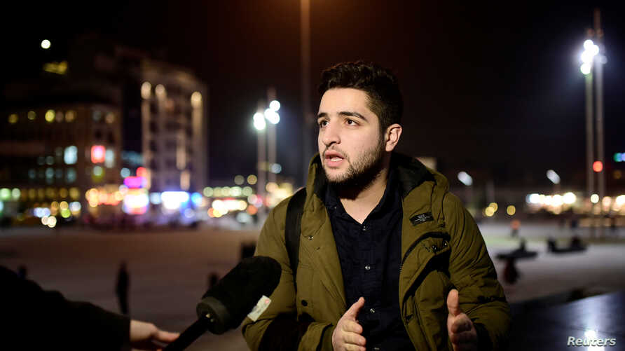 Khaled Khatib, a Syrian cinematographer on the Oscar-winning documentary 'White Helmets' speaks during an interview with Reuters TV in central Istanbul, Turkey, Feb. 27, 2017.