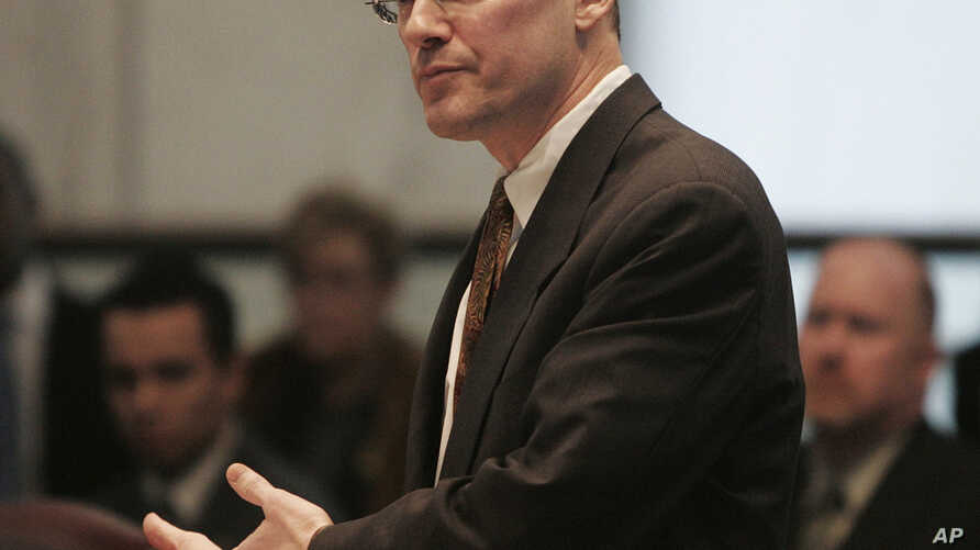 FILE - In this Feb. 15, 2006, file photo, Attorney David S. Buckel at the New Jersey Supreme Court in Trenton, N.J. Buckel, a well-known gay rights lawyer and environmental advocate burned himself to death on April 14, 2018.