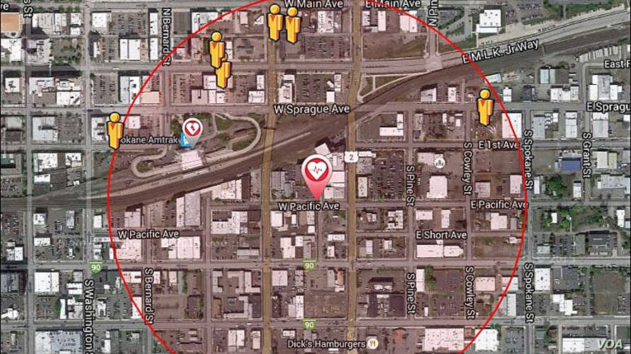 A screen grab shows six citizen responders were nearby when PulsePoint was activated after a person collapsed at a shelter in Spokane, Washington, in June. (Courtesy of Spokane Fire Department)