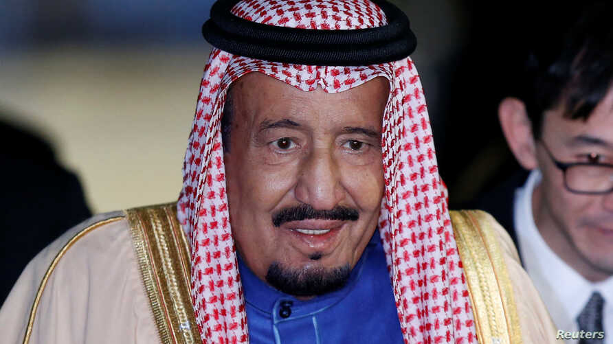 Saudi King Salman bin Abdulaziz Al-Saud arrives at Haneda international airport in Tokyo, March 12, 2017.
