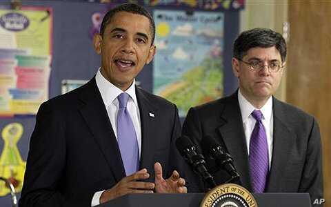 President Barack Obama, with Office of Management and Budget Director Jacob Lew, speaks at Parkville Middle School and Center of Technology in Maryland, Feb. 14, 2011