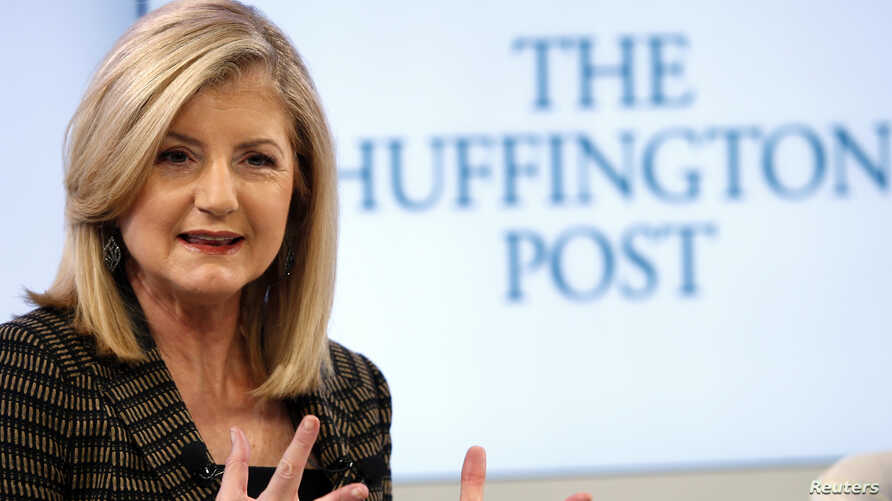 FILE - Arianna Huffington, president and Editor-in-Chief of The Huffington Post Media Group attends a session at the World Economic Forum (WEF) in Davos on Jan. 25, 2014.