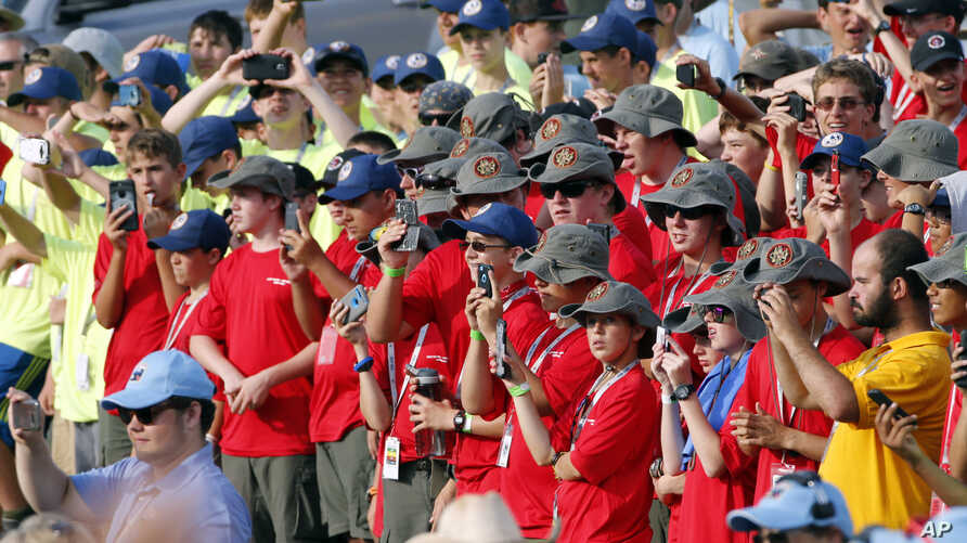 Scouts and their leaders listen to President Donald Trump at the 2017 National Boy Scout Jamboree at the Summit in Glen Jean, W.Va., July 24, 2017.