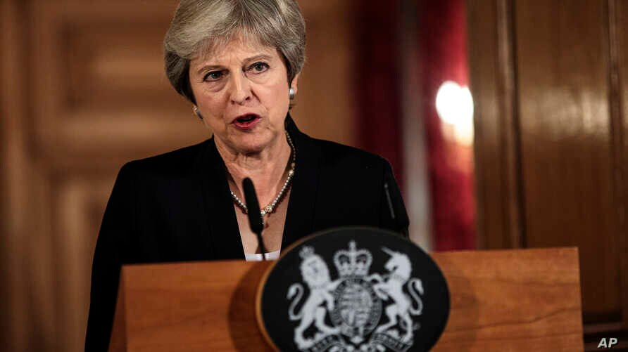 British Prime Minister Theresa May makes a statement on Brexit negotiations with the European Union, at 10 Downing Street, in London, Sept. 21, 2018.