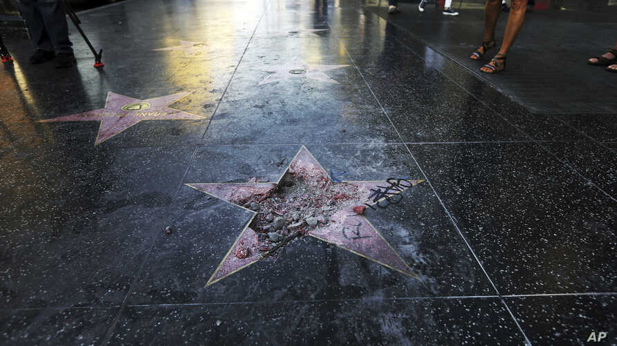 Donald Trump's star on the Hollywood Walk of Fame was vandalized Wednesday, July 25, 2018, in Los Angeles.