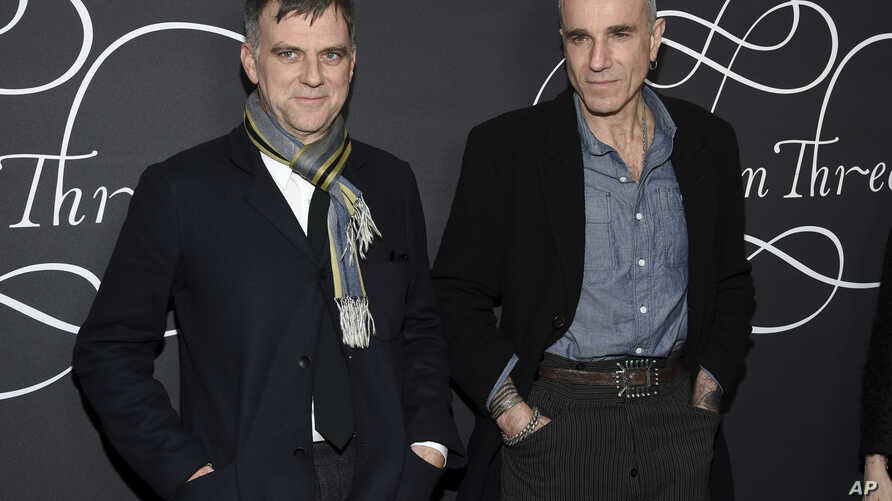 """Writer-director Paul Thomas Anderson, left, and actor Daniel Day-Lewis attend the premiere party for """"Phantom Thread"""" at Harold Pratt House in New York, Dec. 11, 2017."""