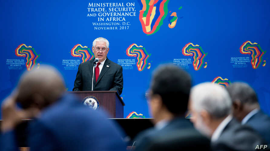 U.S. Secretary of State Rex Tillerson speaks during a meeting of African leaders at the State Department in Washington, Nov. 17, 2017.