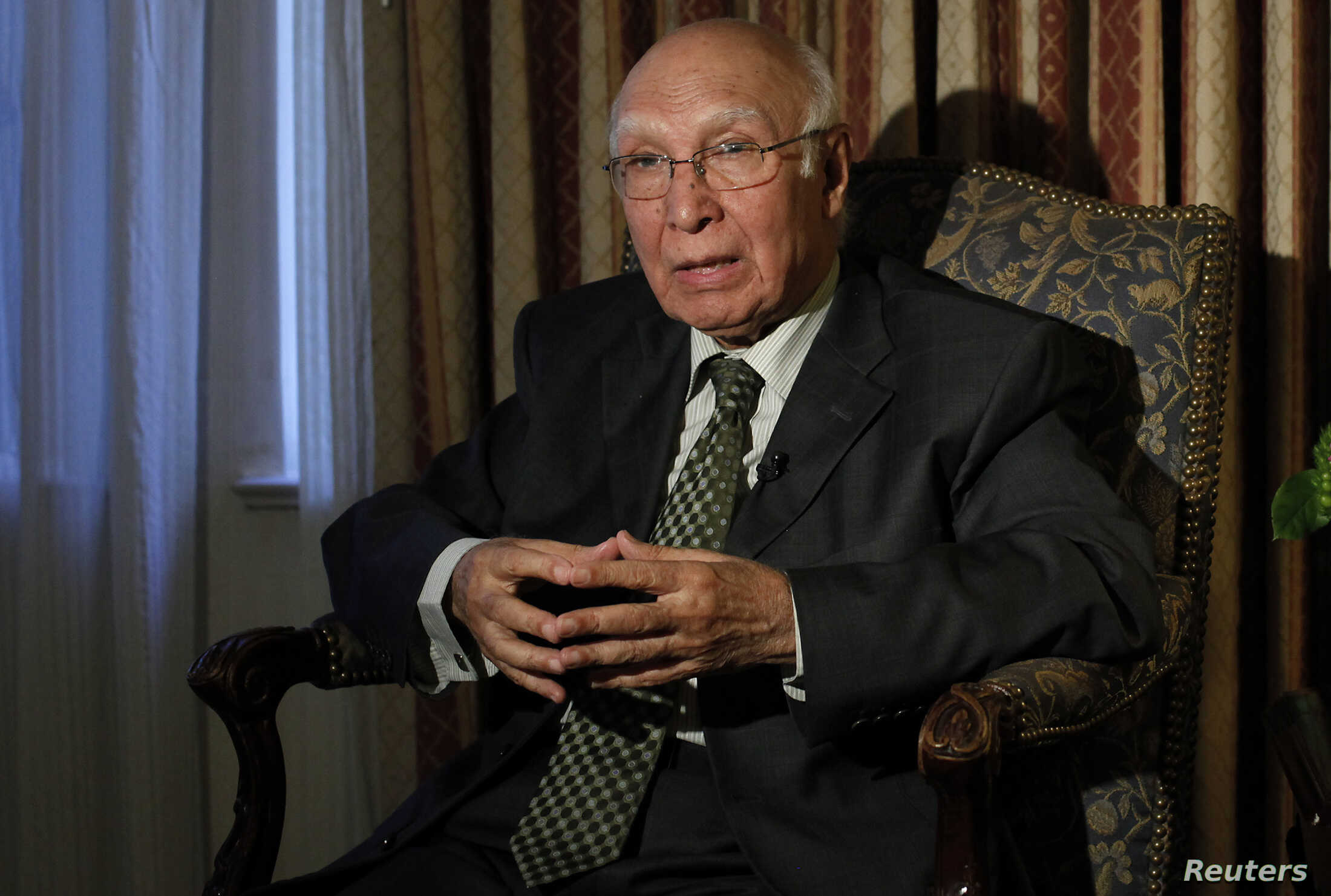 FILE - Advisor to the Pakistani Prime Minister on Foreign Affairs and National Security Sartaj Aziz is seen during an interview at the United Nations General Assembly in New York.