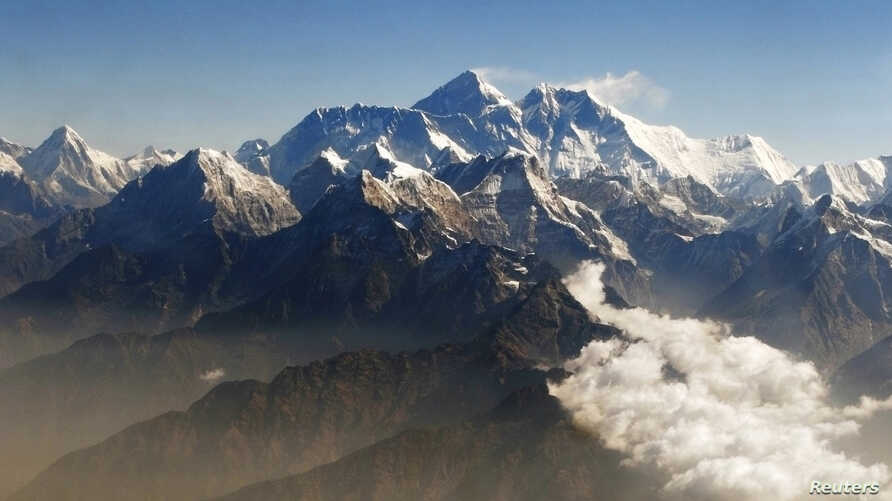 Mount Everest (C), the world highest peak, and other peaks of the Himalayan range. (File Photo)