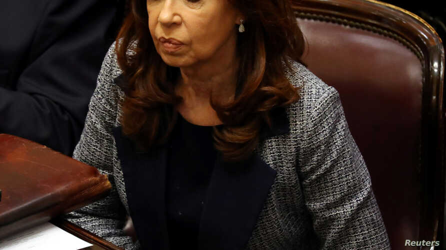 Former Argentine President and senator Cristina Fernandez de Kirchner attends a session at the Senate in Buenos Aires, Argentina, Aug. 22, 2018.