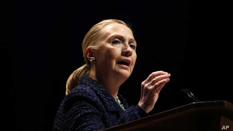 Secretary of State Hillary Rodham Clinton gestures as she gives a speech Thursday, Dec. 6, 2012, at Dublin City University in Dublin, Ireland.