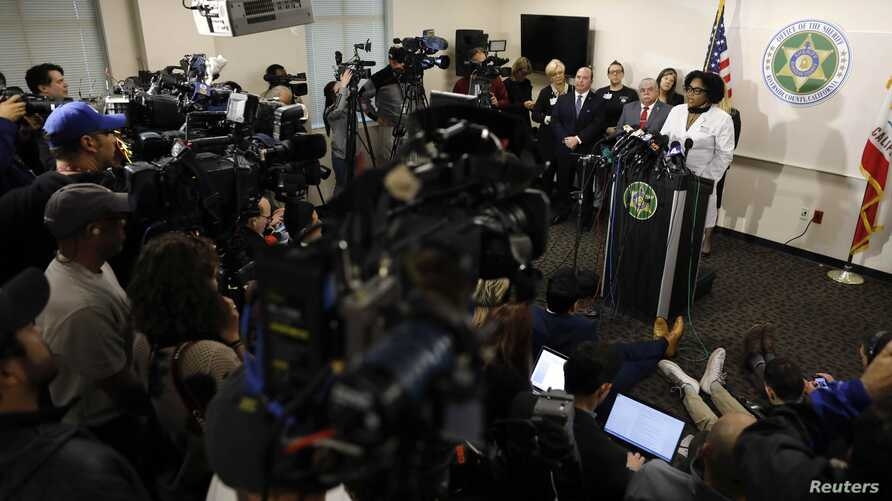 Medical Director of Child Abuse and Neglect at Riverside University Health System Doctor Sophia Grant speaks during a news conference after the arrests of the parents of 13 siblings, who police say were often shackled to their beds.