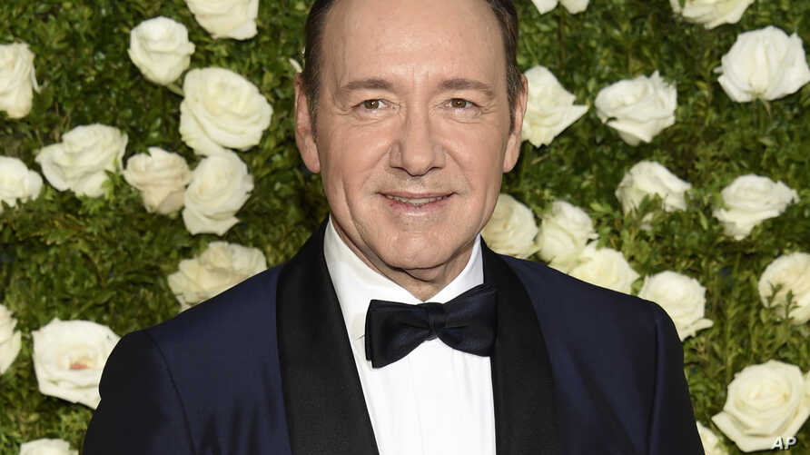 FILE - Kevin Spacey arrives at the 71st annual Tony Awards at Radio City Music Hall in New York.