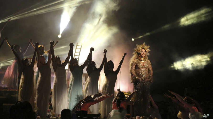 Beyonce performs at the 59th annual Grammy Awards, Feb. 12, 2017.