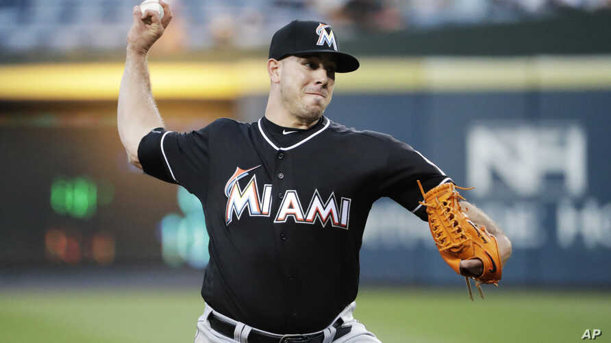 Miami Marlins starting pitcher Jose Fernandez throws in the first inning of a baseball game against the Atlanta Braves in Atlanta, Wednesday, Sept. 14, 2016.
