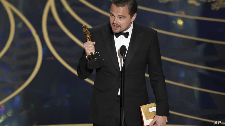 """Leonardo DiCaprio accepts the award for best actor in a leading role for """"The Revenant"""" at the Oscars, Feb. 28, 2016, at the Dolby Theatre in Los Angeles. DiCaprio mentioned the issue of climate change during his speech."""