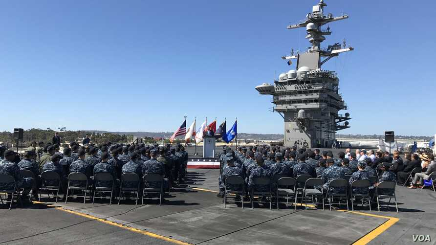"""U.S. Defense Secretary Ash Carter called the Asia-Pacific the """"most consequential region for America's future,"""" during a speech aboard the USS Carl Vinson at port in San Diego on Thursday. (C. Babb/VOA)"""