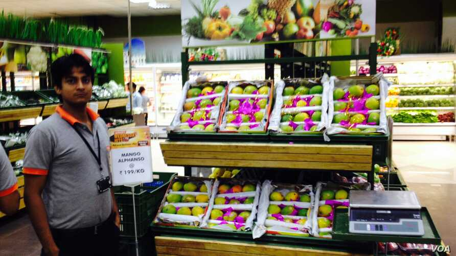 Prices for Alphonso mangoes have crashed in India due to a ban by the European Union. In this photo, they are on sale in a supermarket in Delhi, India, May 7, 2014. (Anjana Pasricha/VOA)