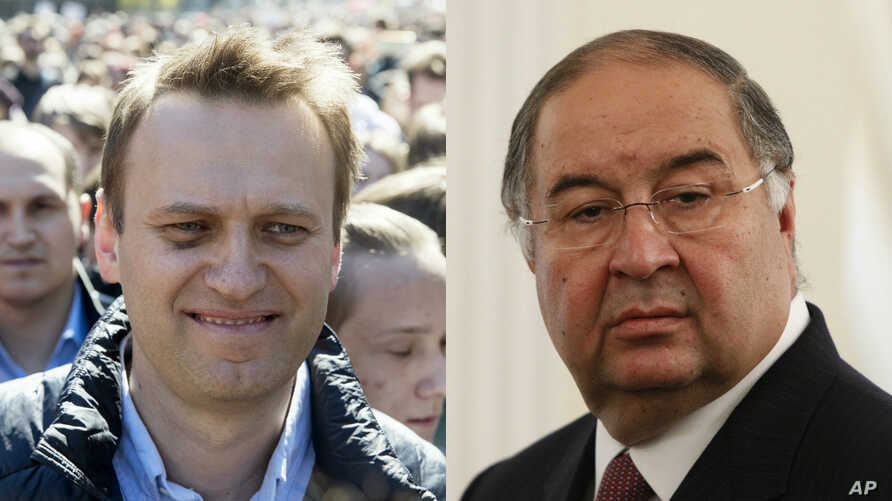 From left, Russian opposition leader Aleksei Navalny and Russian tycoon Alisher Usmanov.