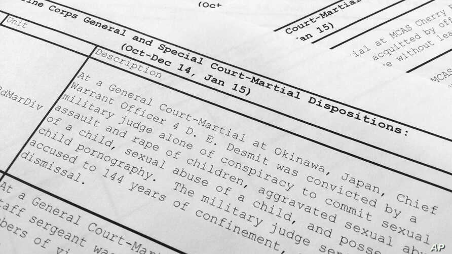 FILE - This image shows the short summary in report released by the U.S. Marine Corps of the court-martial of Marine Chief Warrant Officer 4 Daniel E. DeSmit, who was found guilty of a litany of sex offenses.